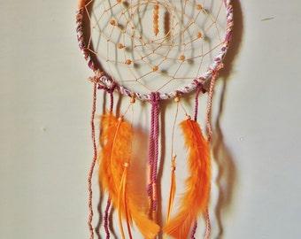 7.5 inch Gypsy, Boho, Orange, Handmade Dreamcatcher