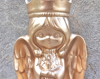 Adorable Angel Metallic Gold Nursery Decor Tea light Candle Holder Painted Glam Luxe Mantle