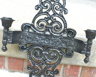 Black ORNATE Double Candelabra Wall Sconce Goth Victorian Vintage Modern Wall Decor