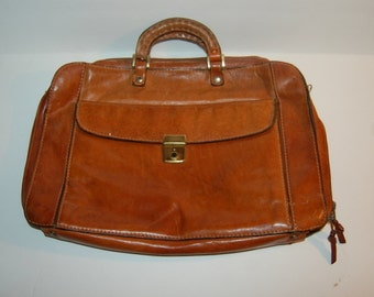 Leather Briefcase Brown Messenger Bag Made In Italy Zip Up