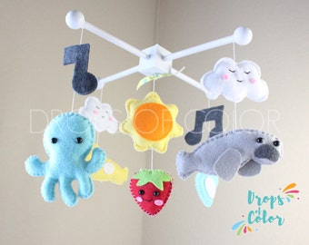 The Beatles, Baby Mobile, Baby Crib Mobile, Nursery Inspired by TV Series The Beatles, Nursery Decor, Subway, Guitar, Music Notes