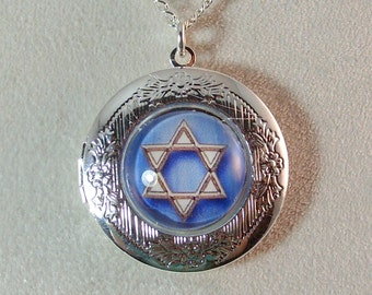 Picture Locket - Blue Star of David