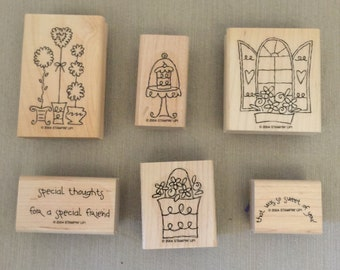 "Stampin' Up Rubber Stamp Set of 6 ""Sweet of You"" Scrapbooking, Crafts, Card Making, Paper Crafts, Flowers"