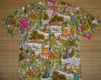 Mens Vintage 60s Mc Inerny Island Life Hawaiian Aloha Shirt - S - The Hana Shirt Co