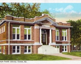 Corbin, Kentucky, Carnegie Public Library - Linen Postcard - Unused (YY)