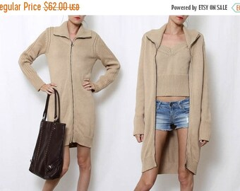 ON SALE Vintage Zip up Knit Sweater Dress and knit tank top