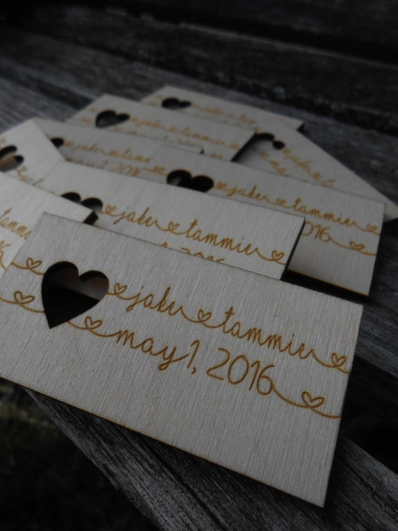 50 custom wedding place card favors escort cards rustic name for Personalized wedding place cards