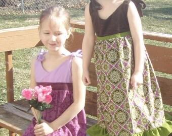 Pink Purple Little Girls Adjustable Tie summer dress