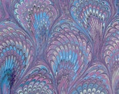 Marbled Paper, handmade violet Bouquet pattern, 19x25in (48x64cm)