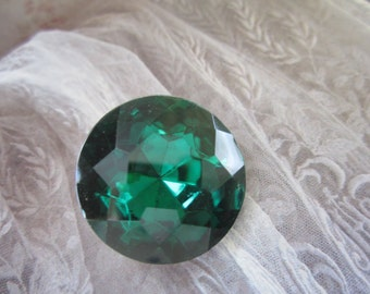 Vintage 25mm Czech Glass Emerald Doublet Gem 1960's 1Pc.