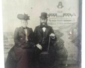 Original Tintype Victorian Man and Woman Tourist Pose Photograph