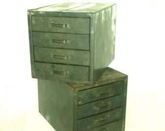 Two Small Vintage Industrial Metal Drawers Boxes