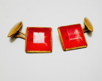 Vintage Red Square Glass Cuff Links