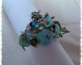 Turquoise and Swarovski Cluster Ring