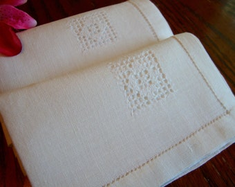 Linen Napkins Set of Two Crochet Inset Tea for Two Ivory Cocktail Napkins