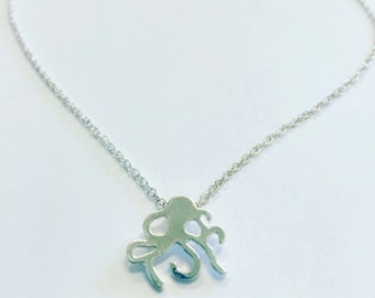 Octopus necklace, minimalist necklace, silver layering necklace, charm necklace, silver octopus necklace