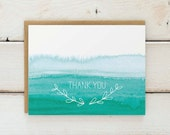 Watercolor Ombre Thank You Cards, Watercolor Thank You Cards, Teal Thank You Card Set, Watercolor Cards, Stationary, Stationery Set of 10