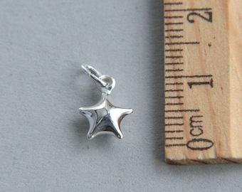 Star Charm, 925 Sterling Silver Charm, Tiny star charm Charm, Sterling Silver Star Charm, 10 x 8 mm ( 1 piece )