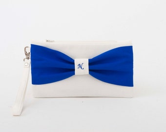 SALE -Bridesmaid gift ,bridesmaid clutch ,MONOGRAMMED ,personalized bridesmaid clutch ,white,navy blue