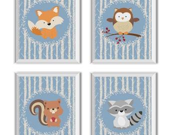 Woodland Animals Nursery Art Boy, Woodland Nursery Decor Boy, Woodland Animals, Fox, Owl, Squirrel, Raccoon, Woodland Art, Gallery Wall