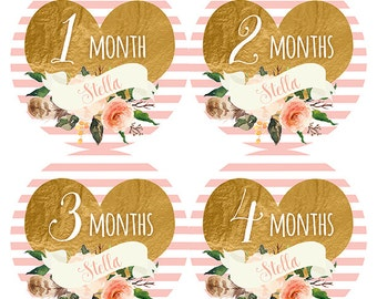 FREE GIFT, PERSONALIZED Name, Monthly Baby Stickers Girl, Baby Girl Month Stickers, Heart Month Stickers, Baby Month Stickers Girl, Pink