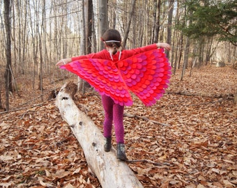 Costume Wings, Reds and Pinks / soft and flappable fun / many sizes, machine wash!