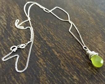 Green Necklace - Jade Gemstone Jewellery - Sterling Silver Jewelry - Chain - Pendant