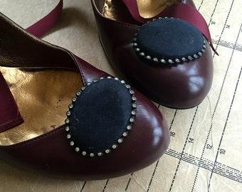 1980s Swarovski Crystal & Oval Black Suede Shoe Clips (pair)