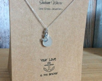 White Sea Glass Sterling Silver Necklace My Anchor Card