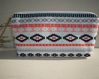 Makeup Bag Cosmetic Bag Tribal Larger Size Ready To Ship Enter Coupon Code SALE50 and Save 50%