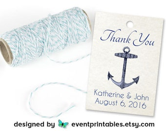 Printable Nautical Favor Tags, Beach Wedding Tags, Anchor Gift Tags, Nautical Baby Shower Tags, Ahoy It's a Boy Tags by Event Printables