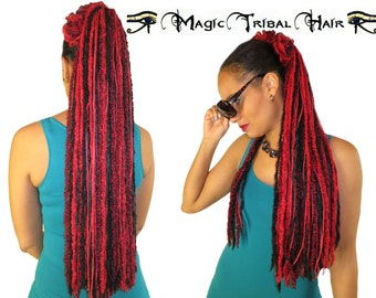 """YARN HAIR FALLS """"Red Passion Glamour"""" Tribal Fusion hair piece Gothic Lolita & Belly Dance hair extension Red Black fantasy yarn dreads"""