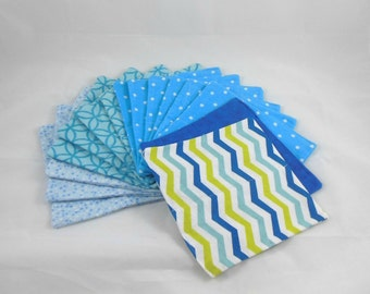 Cloth Wipes, Washcloths, Burp Cloths, Handkerchiefs, Napkins in Mix of Boy Prints Set of 15