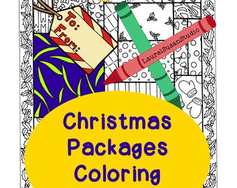 Christmas Coloring Page, Adult Coloring Page, Holiday Packages Coloring, Wrapping Paper Tag Gift Box Holly