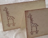 Set of 12 Giraffe Place Cards, Name Cards, Buffet Cards