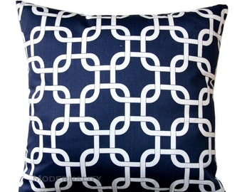 SALE Navy Throw Pillows, Decorative Pillow, Gotcha Blue Pillow Cover, Navy Pillow Case, Chainlink Pillow, Zippered Pillow, Navy Trellis Pill