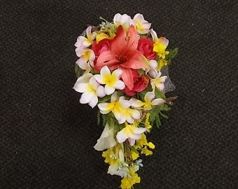Teardrop Cascade Bridal Bouquet Frangipani Plumeria Calla Lily Tiger Lily Orchids Tropical Beach Wedding Coral Hot Pink Yellow Purple White