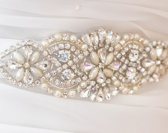 SALE - Wedding Belt, Bridal Sash Belt, Bridesmaids Sash Belt, Pearl Crystal Wedding Sash Belt , crystal & pearl