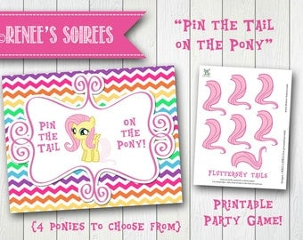 Yellow LITTLE PONY Fluttershy Printable Pin-the-Tail Game - Instant Download - DIY Party game poster Pie