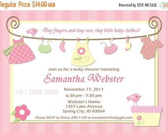 Baby Shower Invitations for Girl Baby Clothes Pink and Yellow Baby Girl Laundry Clothesline Customizable Printabl