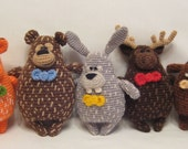 "Crochet Pattern - ""Woodland Friends"" Cute Amigurumi Bear, Fox, Moose, Hare and Beaver"