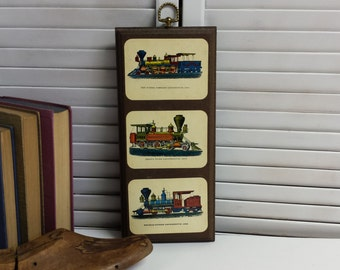 Trains Locomotives Wall Hanging Decoupage Plaque