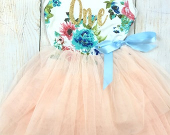 1st Birthday Tutu Dress / Birthday Outfit Girl, Toddler Dress, Baby Girl Dress, Birthday Dress, Birthday Girl, Tutu Dress, Girl Clothing