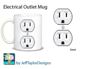 Electrical Outlet Electrician's Coffee Mug Art Outlet on both sides!