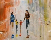 Family Cityscape Modern Impasto Original large 24x54 hand painted Fine Art texture Palette knife figure children oil Painting by IraSher