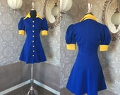 Vintage 1970's Blue and Yellow Mini Diner Dress XS