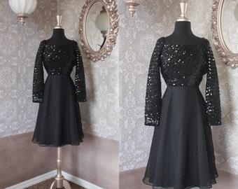 Vintage Black Sequined Dress with Low Scoop Back XS