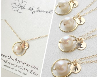 THREE Pearl & initial necklaces, Personalized Bridesmaid gifts, Initial necklaces, Pearl necklaces, jewelry gift sets, bridesmaid gift
