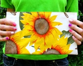 Sunflowers and Seeds Print Oilcloth Bag