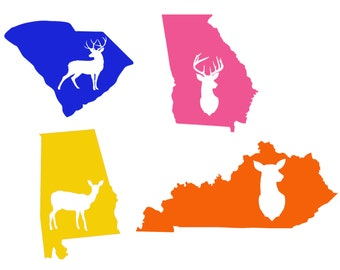Deer Hunting State Decal - Doe Decal - Buck Decal - Deer Decal - Deer Hunting - Truck Decal